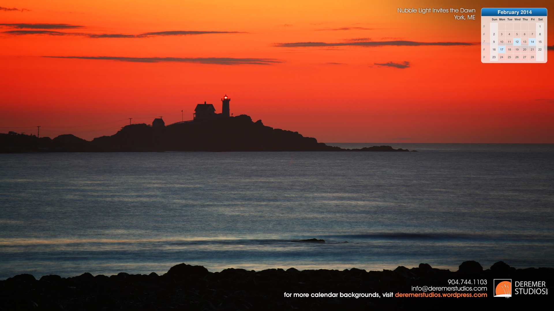 2014 02 February - Nubble Light at Dawn Calendar Wallpaper